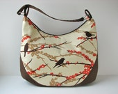 XL Zippered Hobo Bag in Sparrows in Bark with Brown Canvas - ready to ship