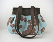 Pleated Handbag in Aqua and Brown Cherry Blossoms - ready to ship