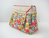 Large Cosmetic Bag in Floral in Natural with linen and water resistant lining - ready to ship