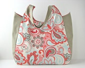 XL Tote Bag, Beach Tote, Shoulder Bag in Verona in Rouge and Taupe - ready to ship