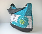 Zippered Hobo Bag Purse in Teal Polka Dots and Floral with Charcoal Grey corduroy - ready to ship