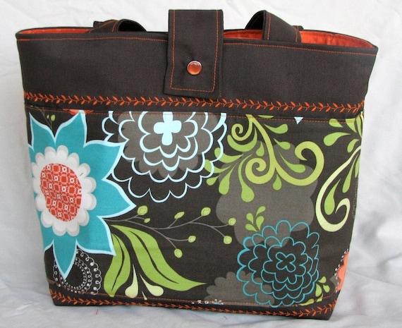 Floral in Brown Basket Tote Bag