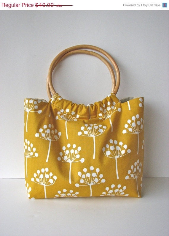 Black Friday/Cyber Monday Wood Handle Purse in Spring Buds in Mustard Yellow - ready to ship