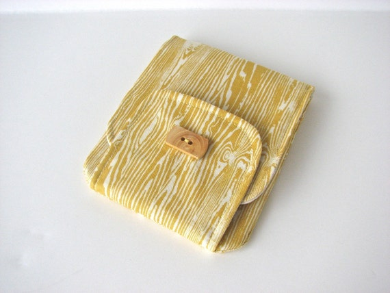Mini Wallet or Pouch in Woodgrain in Yellow - ready to ship
