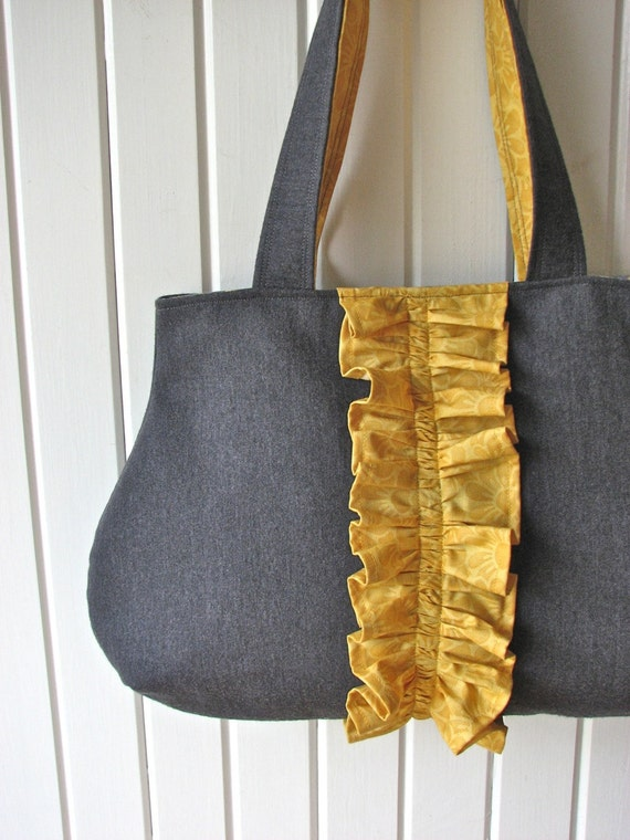 Ruffle Tote Bag in Mustard Yellow and Charcoal Grey - ready to ship