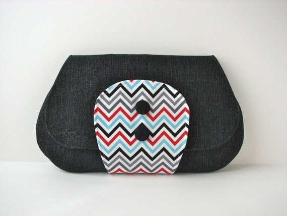 Large Clutch Purse in Black Denim with Red, Grey, Black and Blue Chevron accent - ready to ship