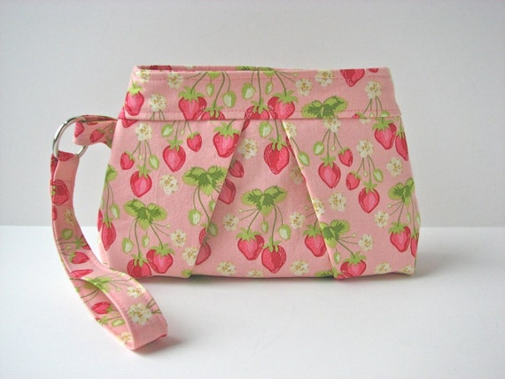 SALE Wristlet in Strawberries in Pink - ready to ship (reg 28)