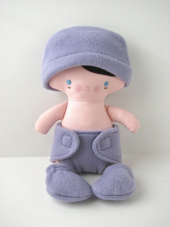 Baby Cloth Doll with diaper, hat, booties and bunting bag - ready to ship