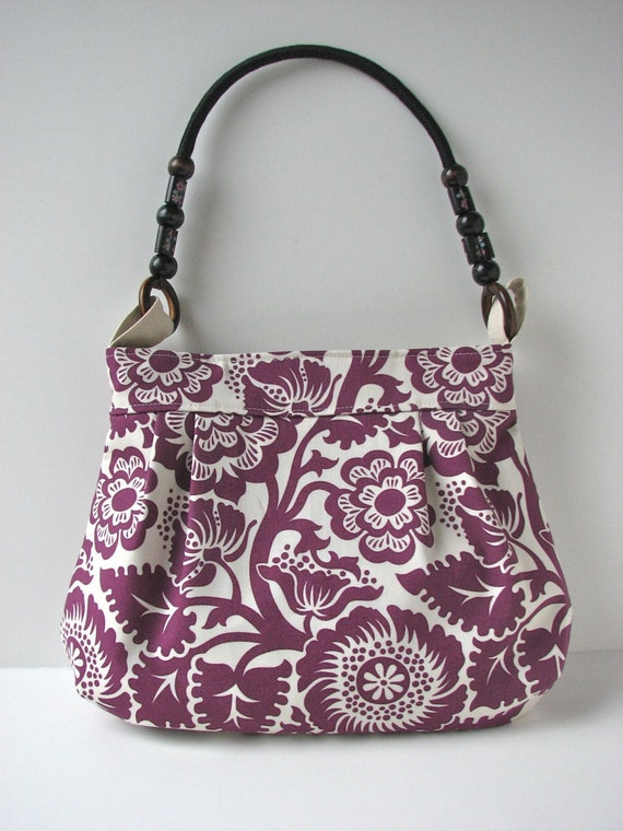 Pleated Shoulder Bag in Amethyst Purple Floral with beaded rope handle - ready to ship