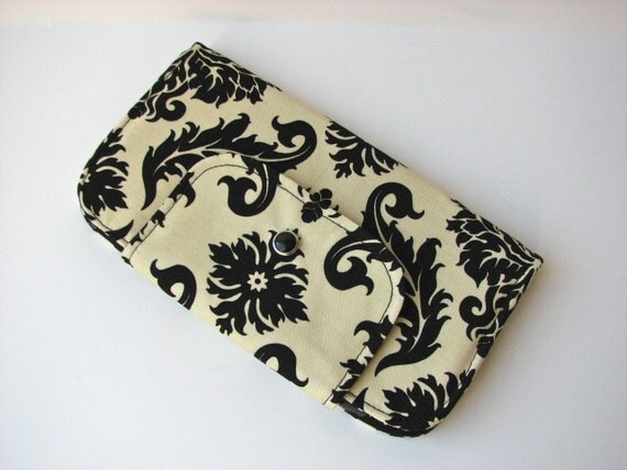 Wallet in Damask in Cavern (black and pale yellow) - ready to ship