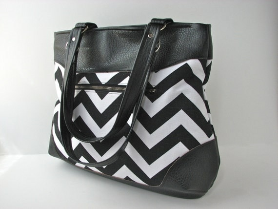 SALE Shoulder Bag Tote Bag in Black and White Chevron with black faux leather vinyl (reg 80)