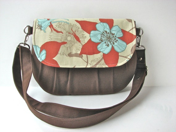 Small Cross body bag or Hip Bag in Columbine in Natural with Brown Canvas - ready to ship