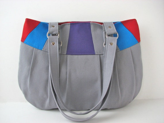 SALE Pleated Canvas Purse in Colorblock Grey, Purple, Blue and Red - ready to ship (reg 56)