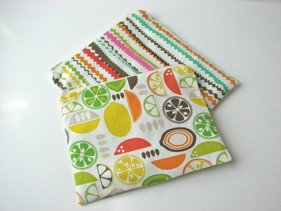 Zippered Snack Bag and Sandwich bag set of 2 in citrus fruit and ripple stripe in ivory - MADE TO ORDER