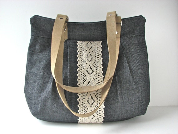 Large Pleated Zippered Shoulder Bag in Dark Blue Denim with Tan Suede Leather Straps - ready to ship