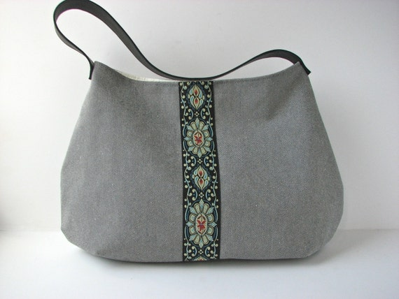 Hobo Bag Purse in Grey Denim with brocade ribbon and black leather strap - ready to ship
