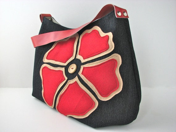Hobo Bag Purse in Navy Blue Denim with Large Red Felt Flower and red leather strap - ready to ship