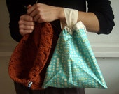 Sparrows and Acorns - B.I.G. Project Wrister - Lined WIP Drawstring Bag - Fixed Strap - Hand-made