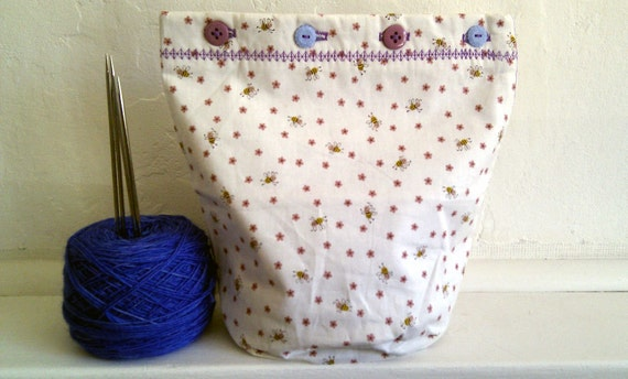 Dancing Bees - Sock-Perfect - Buttoned WIP Bucket Bag - Hand-made