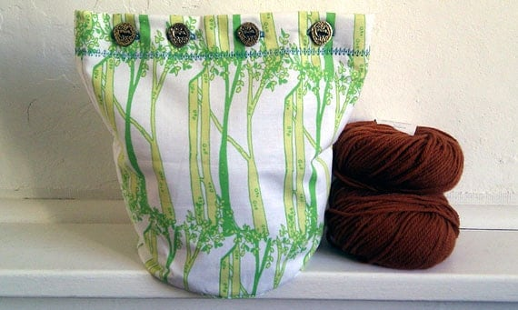 Forest for the Trees - Sweater-Perfect - Buttoned WIP Bucket Bag - Hand-made