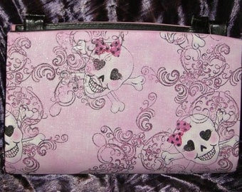 Pink Glitter Skulls Magnetic Purse Cover