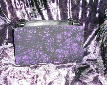 Black and Purple Batik Dyed Magnetic Purse Cover