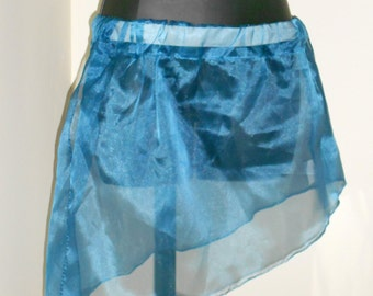 Tribal Fusion Bellydance Dusty Blue Shimmery Asymetrical Mini Panel Skirt