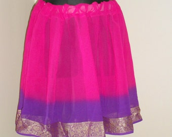 Tribal Fusion Bellydance Fuscia, Hot Pink and Purple Mini Skirt