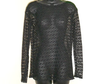 Tribal Fusion Bellydance Black Mesh Shirt Large