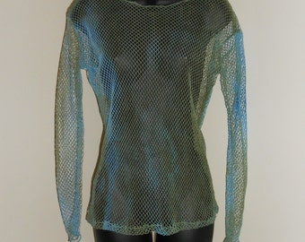 Tribal Fusion Bellydance Pale Blue and Olive Green Mesh Shirt Large