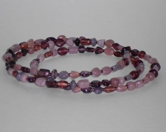 Shades of Amethyst Beaded Memory Wire Choker Necklace- 035