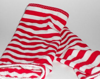 Goth Tribal Fusion Bellydance Red and White Striped Sleeve Gauntlets