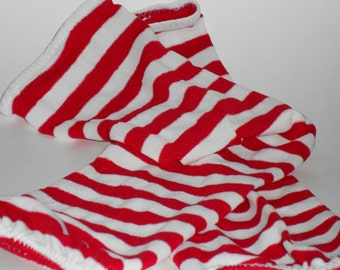 Goth Tribal Fusion Bellydance Red and White Striped Full Sleeve Gauntlets