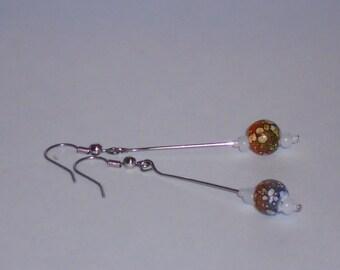 Boho Chic Tan and Grey Batik Ball Drop Earrings- 086
