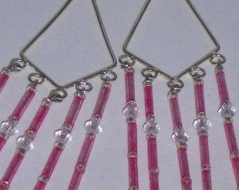 Pink and Crystal Chandelier Earrings- 016