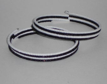 Black and White Striped Beaded Cuff Memory Wire Bracelet Set- 217