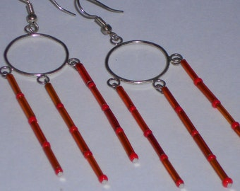 Orange Bugle Bead and Silver (faux) Circle Chandelier Earrings- 023
