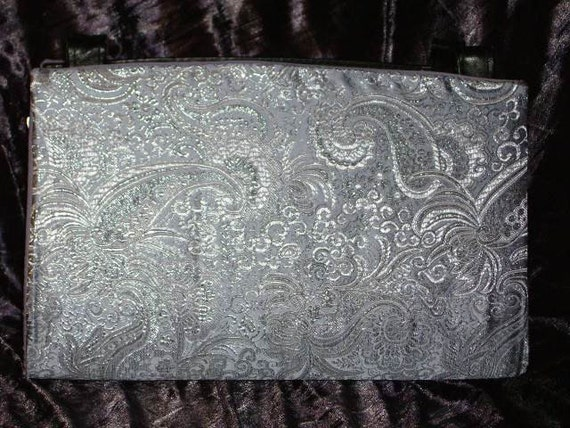 Pale Lavender and Silver Brocade Magnetic Purse Shell Cover
