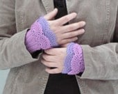 Fuchsia - crocheted layered thulian pink and lavender arm warmers cuffs