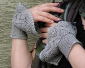 Spring Morning Dew - crocheted open work layered wrist warmers cuffs