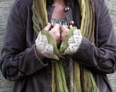 Light Green Morning - crocheted open work layered wrist warmers cuffs
