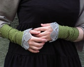 Misty Dream -  crocheted open work lacy wrist warmers cuffs