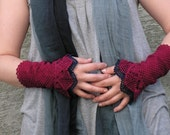 Cherry Orchard - crocheted open work lacy wrist warmers cuffs