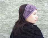 Winter Lilac -  hand knitted headband  ear warmer with crocheted flower brooch