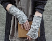Early Spring Morning - crocheted open work lacy very romantic wrist warmers cuffs with flower