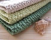 FREE SHIPPING Natural Crochet 100% Cotton Washcloths set of 3 bath spa sea green