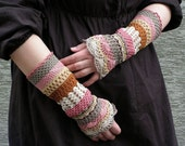 Total Colorization: Tea with Rose Tones - crocheted open work lacy romantic wrist warmers cuffs hippie boho style