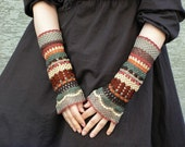 FREE SHIPPING Total Colorization: Earth Tones - crocheted open work lacy wrist warmers cuffs hippie boho style
