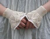 Crème de la Crème - crocheted open work layered wrist warmers bridal wedding rustic cuffs