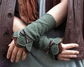 Lace Hunting  - crocheted open work lacy romantic wrist warmers cuffs gift winter spring fashion in olive and dark brown